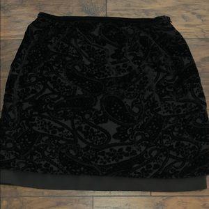 NWOT Black velvet skirt
